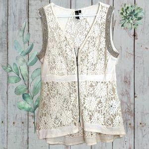 BKE Boutique Lace Vest